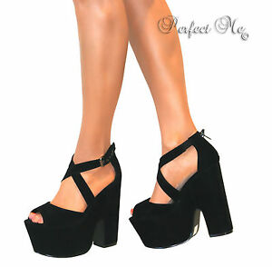LADIES STRAPPY PEEP TOE DEMI WEDGE PLATFORM HEELS SHOE ZIP BUCKLE SUMMER SIZE