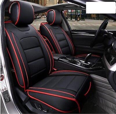 2x Autositzbezug Vordere Sitzbezüge Schwarz Rot Komfort Kunstleder Hochwertig