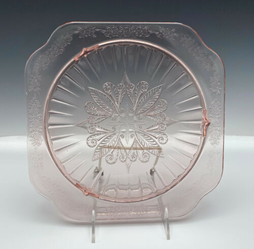 "Vintage Jeanette Adam 10"" Pink  3 Footed Cake Plate Server Depression Glass"