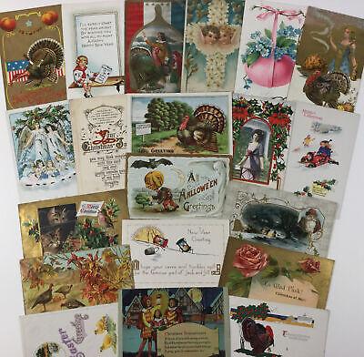 Vintage Antique Lot of 20 Postcard Greeting Holiday Cards Halloween Xmas Santa