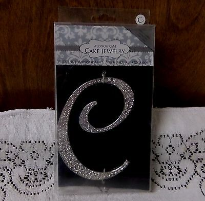 Crystal Rhinestone Silver Letter C Monogram  Cake Topper Wedding Anniversary USA