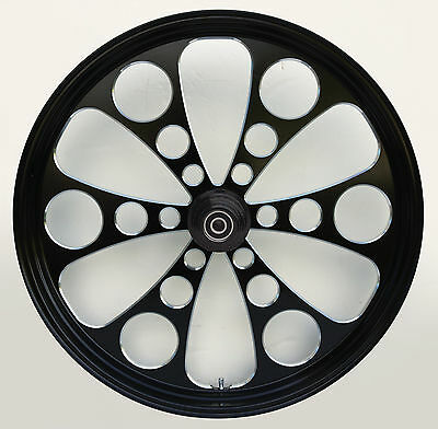 "Kool Kat ""Black Cut"" CNC 21"" x 3.5"" Front DD Wheel for Harley & Custom Models"