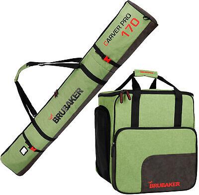 BRUBAKER Ski Bag Combo - Boot Bag and Ski Bag - Green/Black