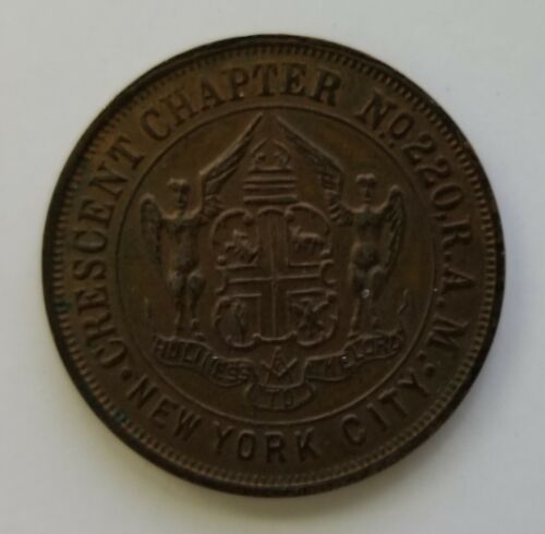 1869 Crescent Chapter New York City No. 220 R.A.M. Masonic Penny Token