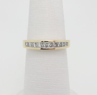 Zales 1/2CT Princess Cut Diamond Anniversary Wedding Band Ring 14K Yellow Gold