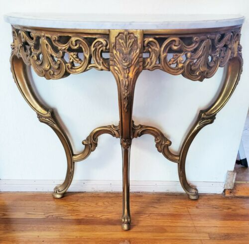 Vtg Marble Top Giltwood French Style Entryway Demilune Console Table LA Area