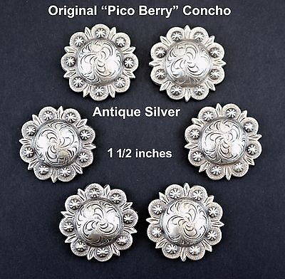 """LOT OF 6 CONCHOS  ANTIQUE SILVER PICO BERRY WESTERN RODEO LEATHER TACK 1 1/2 """""""
