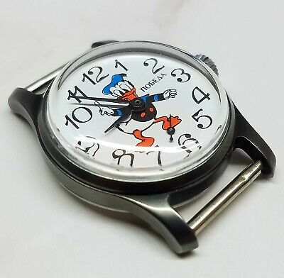 Vintage mechanical watch Pobeda Donald Duck Disney made in USSR