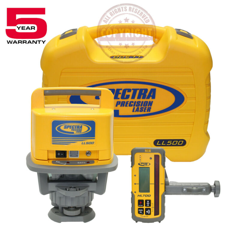 NEW! SPECTRA PRECISION LL500 + HL700 ROTARY LASER LEVEL, TRANSIT, LASERPLANE