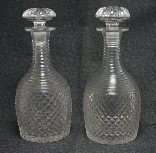 FLINT Cut Glass DECANTERS with STOPPERS - Set of 2 - 8""