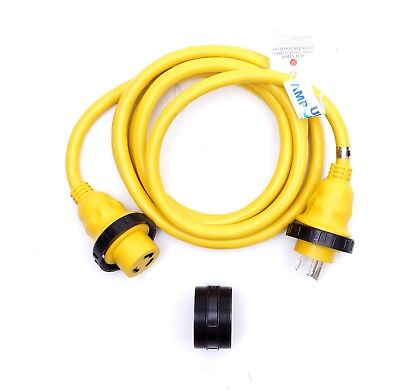 125v Marine (AMP UP 125V 30A x 12' Marine Shore Power Boat Cord Yellow 30 12 volt foot ft)