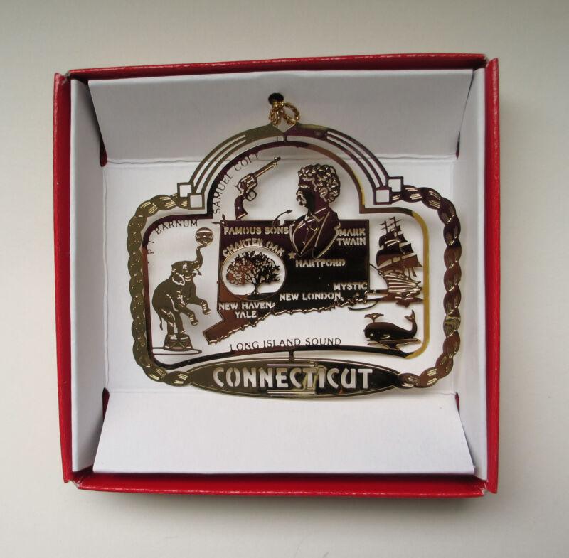 Connecticut State Landmarks Brass Ornament