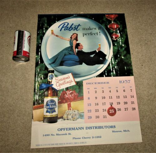 1958 PABST beer FULL SIZE wall CALENDAR  COMPLETE!