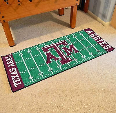 Texas A&M Aggies NCAA Football Field Runner Man Cave Area Rug Mat - Texas A&m Football Rug