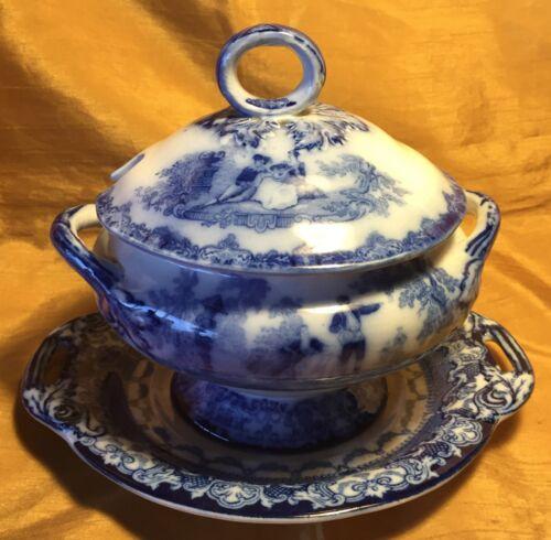 Antique 19th c WATTEAU Burslem Doulton Blue Flow Tureen & Lid Bowl + Underplate