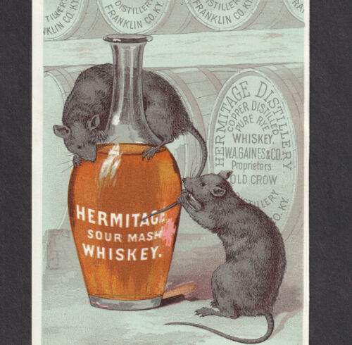 Old Crow antique Pre-Pro Hermitage KY Whiskey Bottle Ad Rat Victorian Trade Card