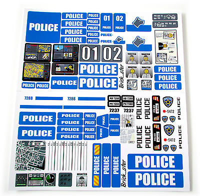 STICKERS for CUSTOM POLICE LEGO 7743 7237 7744 BUILDS, Toys, Etc