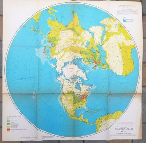 1948 MAP U.S. AIR FORCE ECONOMIC CHART NORTHERN HEMISPHERE MILITARY VINTAGE