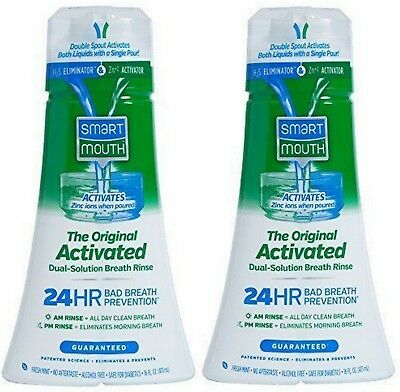 Smart Mouth MOUTHWASH Dual-Solution Breath Rinse Fresh Mint 16 oz ( 2 pack (Smart Mouthwash)