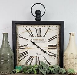 Large Rustic Vintage French Country Square Metal Wall Clock Pocket Watch Design