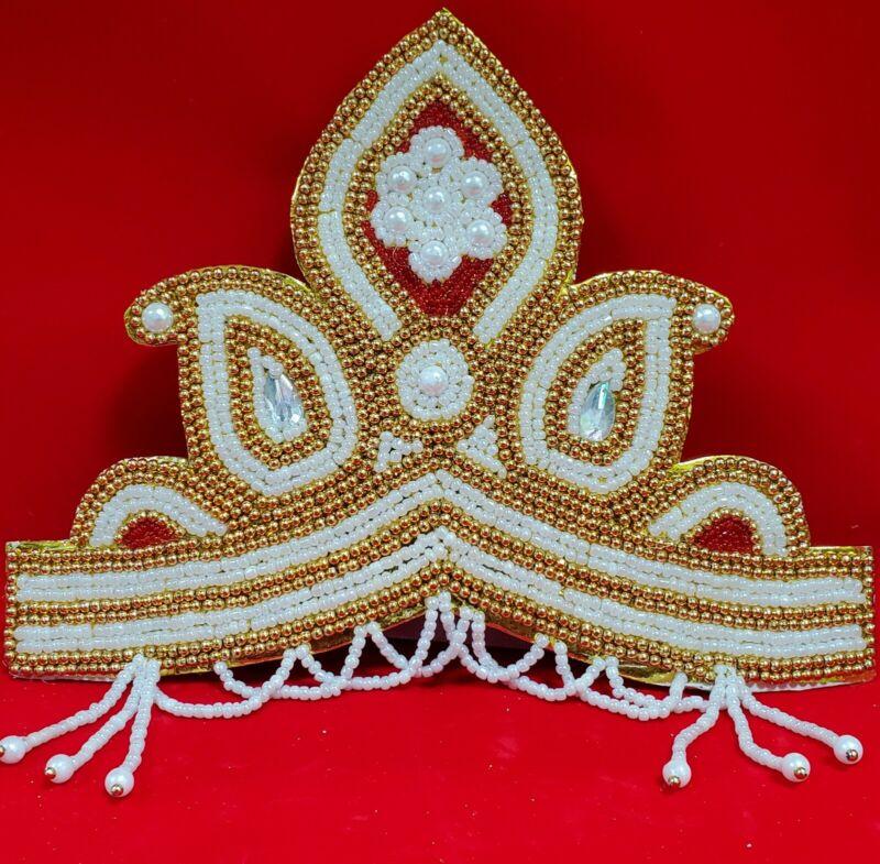 Handmade hindu god Mukut Crown 6.5 inch tall  Designer with bead work  work USA