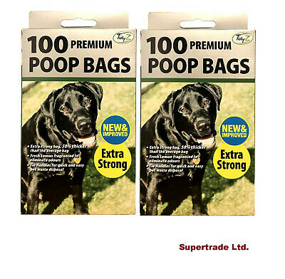 2 X 100 Fragranced Dog Poo Bags Scented Doggy Bags Strong Large Tie Handles