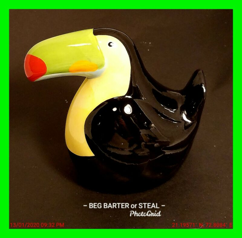 Vintage Hand Painted Toucan Bird ~ Holder ~ Display NEAT!