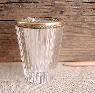 Antique Gilt Bronze Crystal Vase Toothpick Match Holder Art Deco Glass French ?