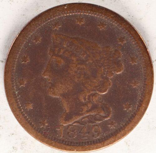 1849 Braided Hair Half Cent 1c