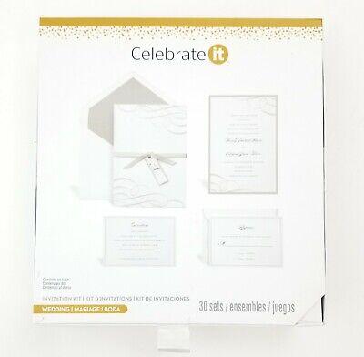 Celebrate It Wedding Invitation Kit. Set of 30 Invites & RSVP. Silver & White