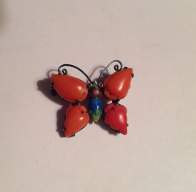 Antique very fine Chinese natural coral enamel butterfly pin