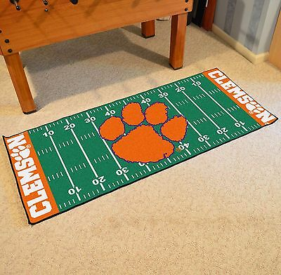 (Clemson Tigers NCAA Football Field Runner Man Cave Area Rug Mat 29.5