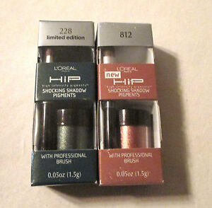 L'OREAL HiP SHOCKING EYE SHADOW X2 MIXED COLORS Lot of 2 W/PROFESSIONAL BRUSH