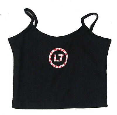 L7 Plaid Logo Girls Juniors Black Camisole Shirt OSFA New Band Merch Giant - Giant Plaid Shirt