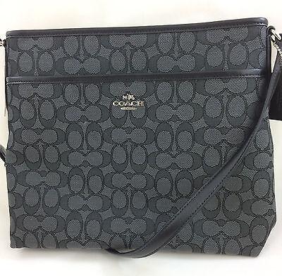 New Coach F58285 File Bag Shoulder Crossbody Bag Handbag Purse Black Smoke  195