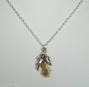 Bronze Oak Leaf & Silver Acorns Pendant 18