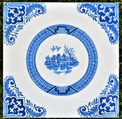 Antique Reclaimed Tile Blue and White Chinoiserie Design 15 x 15 x 2cm