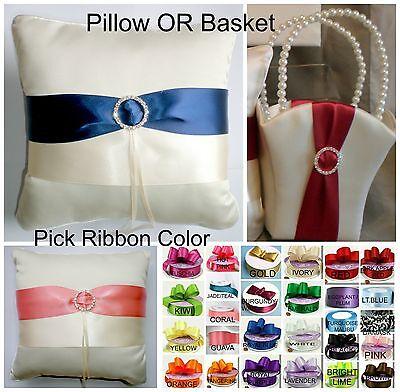 Custom Ribbon Color IVORY Flower Girl Basket OR Ring Bearer Pillow (Ring Pillows)