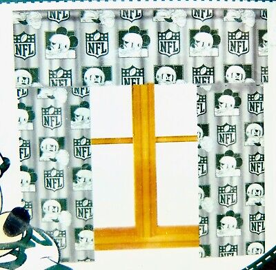 Mouse Window Panel (NFL Football NY Jets Mickey Mouse Curtains Green White Panel Fits 36 - 48 Window )