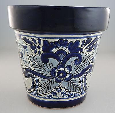 Mexican Ceramic Flower Pot Planter Folk Art Pottery Handmade Talavera # 08