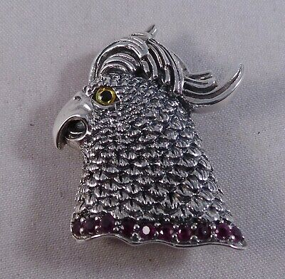 STERLING SILVER & RUBY CRESTED BIRD PIN / BADGE / BROOCH / PENDANT