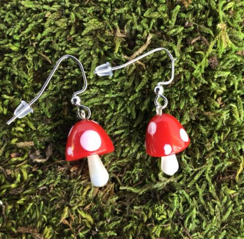 Handmade mushroom earrings Fairy Garden Toadstool earrings Stocking Stuffers!