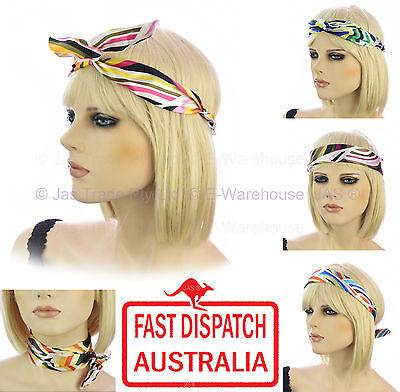 Wire Hair Head Band Bow Scrunchie Scrunchy 70s 80s Party Costume Turban Headband (70s Head Band)