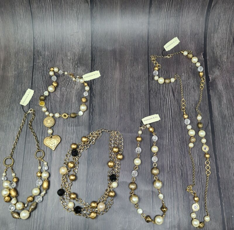 Wholesale Lot of 5 Necklaces Stephan & Co SAMPLES Gold Toned Beads Vintage
