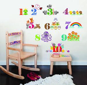 Kid's Wall Sticker Art Room Decoration Animals Numbering II Children