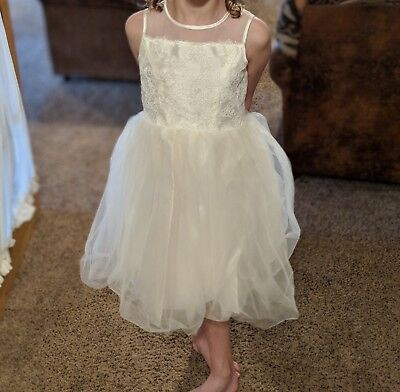 David's Bridal Corded Lace with Tulle Skirt Flower Girl Dress Style OP228 Size 7 - Flower Girl Dress With Tulle Skirt
