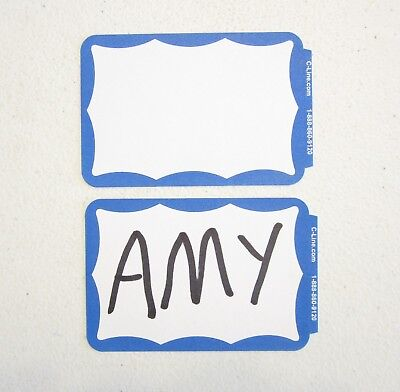 40 Blue Border Badges Name Tags Labels Id Stickers Peel And Stick Adhesive