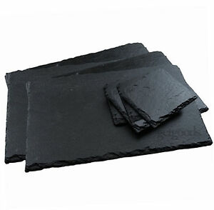 12 Piece Natural Slate Rectangle Placemats & Coasters Tablemat Dinner Drinks Set
