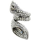 Butler And Wilson Silvercrystal Double Lily Ring Uk N Us 6.5 Qvc Med Sale