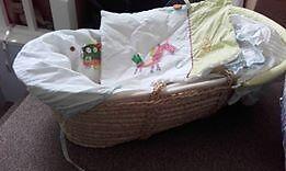 Mamas & Papas moses basket with mattress and bedding